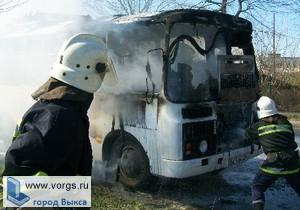 В Виле загорелся рейсовый автобус ПАЗ